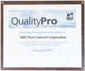 shs Pest Control Quality Pro certificate of excellence